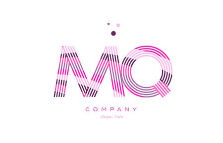 mq m q alphabet letter logo pink purple line font creative text dots company vector icon design template Illustration