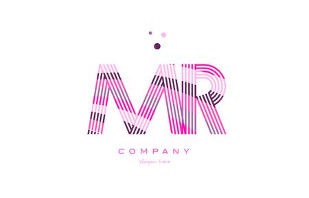mr m r alphabet letter logo pink purple line font creative text dots company vector icon design template