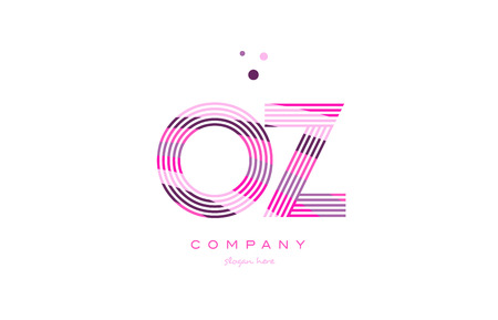 oz o z alphabet letter logo pink purple line font creative text dots company vector icon design template Illustration