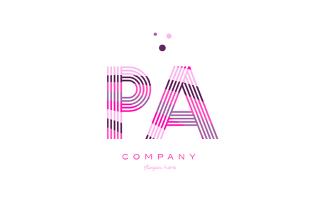 pa p a alphabet letter logo pink purple line font creative text dots company vector icon design template