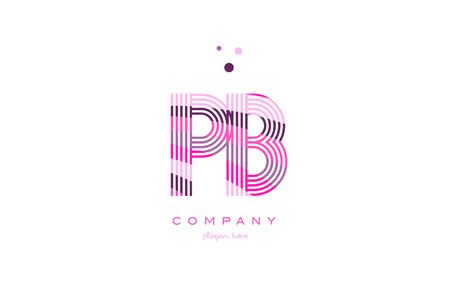 pb p b alphabet letter logo pink purple line font creative text dots company vector icon design template Illustration
