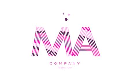 ma m a alphabet letter logo pink purple line font creative text dots company vector icon design template