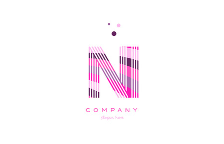 ni n i alphabet letter logo pink purple line font creative text dots company vector icon design template Illustration