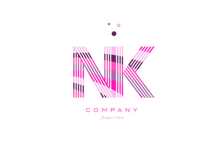 nk n k alphabet letter logo pink purple line font creative text dots company vector icon design template