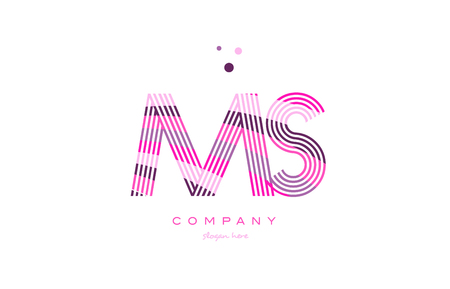 ms m s alphabet letter logo pink purple line font creative text dots company vector icon design template