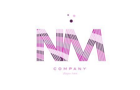 nm n m alphabet letter logo pink purple line font creative text dots company vector icon design template Illustration