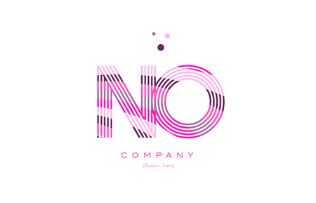 no n o alphabet letter logo pink purple line font creative text dots company vector icon design template