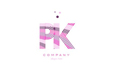 pk p k alphabet letter logo pink purple line font creative text dots company vector icon design template