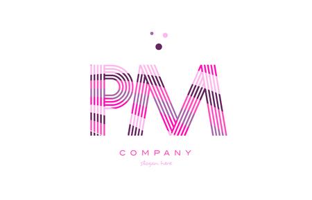 午後 p l アルファベット文字ロゴ ピンク パープル ライン フォント創造的なテキスト ドット会社ベクトル アイコン デザイン テンプレート  イラスト・ベクター素材