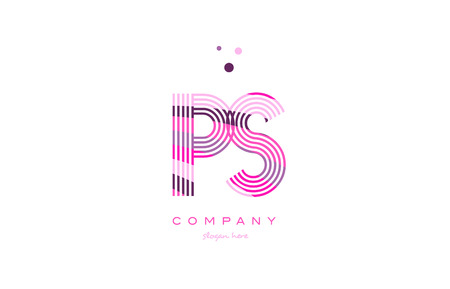 ps p s alphabet letter logo pink purple line font creative text dots company vector icon design template