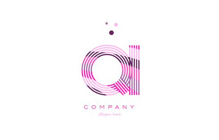 qi q i alphabet letter logo pink purple line font creative text dots company vector icon design template