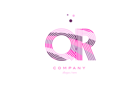 qr q r alphabet letter logo pink purple line font creative text dots company vector icon design template