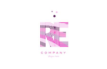 re r e alphabet letter logo pink purple line font creative text dots company vector icon design template
