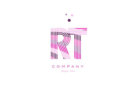 rt r t alphabet letter logo pink purple line font creative text dots company vector icon design template Logó