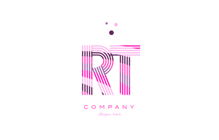 rt r t alphabet letter logo pink purple line font creative text dots company vector icon design template Illustration