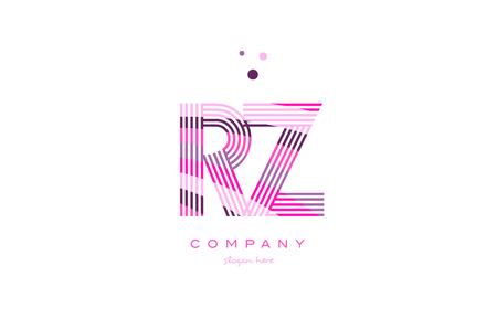 rz r z alphabet letter logo pink purple line font creative text dots company vector icon design template