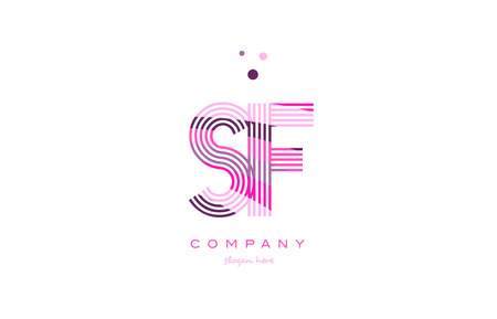 sf s f alphabet letter logo pink purple line font creative text dots company vector icon design template