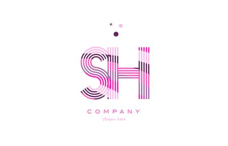 sh: sh s h alphabet letter logo pink purple line font creative text dots company vector icon design template