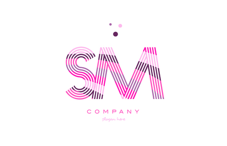 sm s m alphabet letter logo pink purple line font creative text dots company vector icon design template