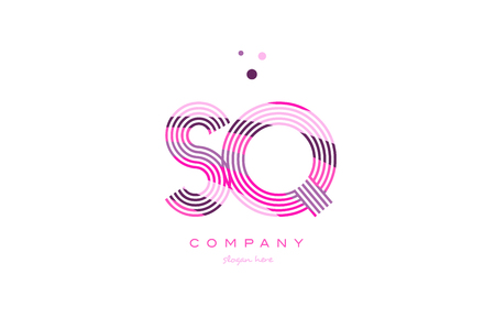 sq s q alphabet letter logo pink purple line font creative text dots company vector icon design template Logó