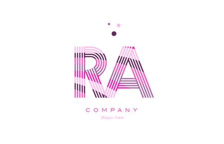 ra rq alfabet litery logo różowy fioletowy linii czcionki twórczy tekst kropki firma wektor ikona szablon projektu Logo