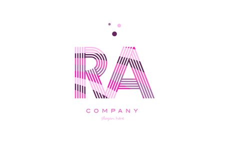 ra r q alphabet letter logo pink purple line font creative text dots company vector icon design template