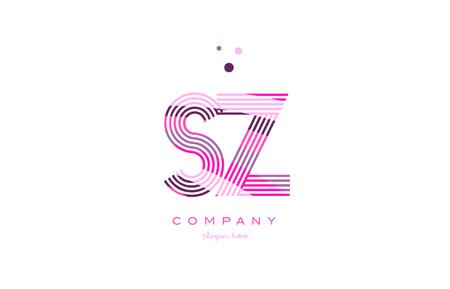 sz s z alphabet letter logo pink purple line font creative text dots company vector icon design template