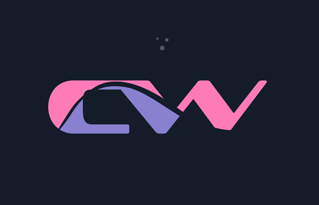 letter c: cw c w pink blue magenta alphabet letter logo purple font creative text dots company vector icon design template Illustration