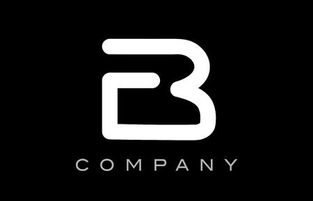 Letter B black white line lineart alphabet logo vector creative company  icon design template