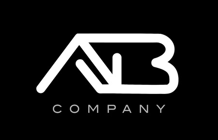 Letter AB AB black white line lineart alphabet logo combination vector creative company  icon design template Illustration