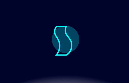 S blue line circle letter logo alphabet creative company vector icon design template