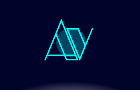AV a v blue line circle letter logo alphabet creative company vector icon design template