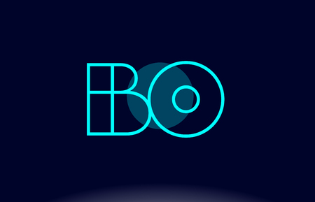 BO blue line circle letter logo alphabet creative company vector icon design template