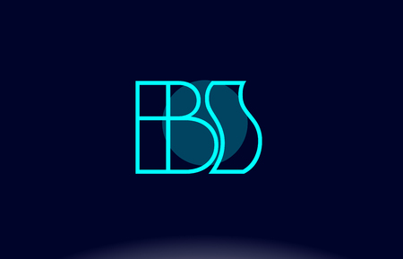 BS blue line circle letter logo alphabet creative company vector icon design template 向量圖像