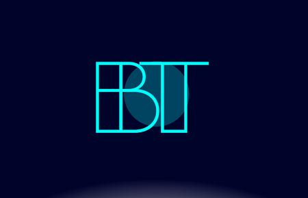 bt blue line circle letter logo alphabet creative company vector icon design template stock vector