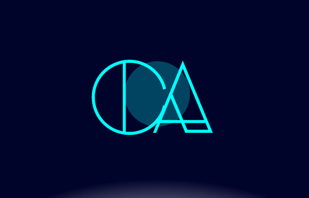 letter c: ca c a blue line circle letter logo alphabet creative company vector icon design template