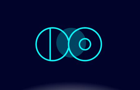 CO blue line circle letter logo alphabet creative company vector icon design template Illustration