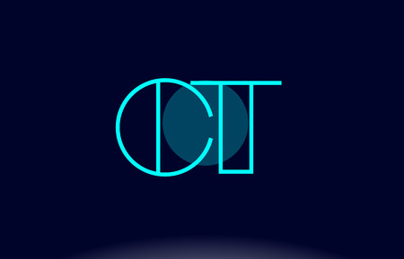 CT blue line circle letter logo alphabet creative company vector icon design template