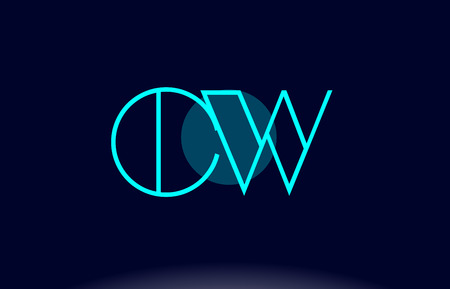 c a w: CW blue line circle letter logo alphabet creative company vector icon design template