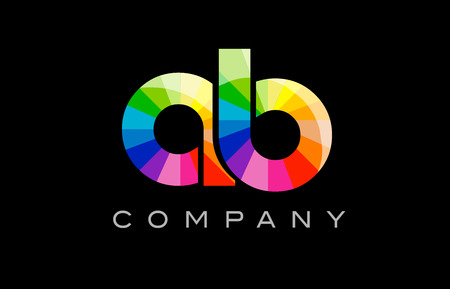 AB A B joint combination alphabet letter mosaic rainbow logo vector creative company icon design template color colorful black background
