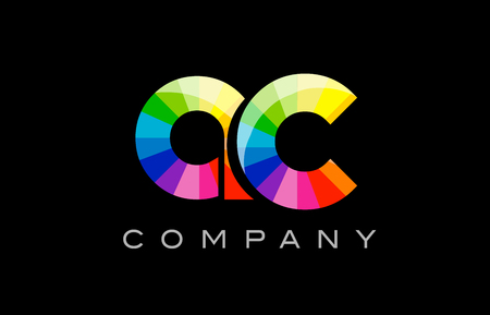 ac: AC A C joint combination alphabet letter mosaic rainbow logo vector creative company icon design template color colorful black background