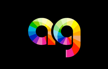 AG A G joint combination alphabet letter mosaic rainbow logo vector creative company icon design template color colorful black background