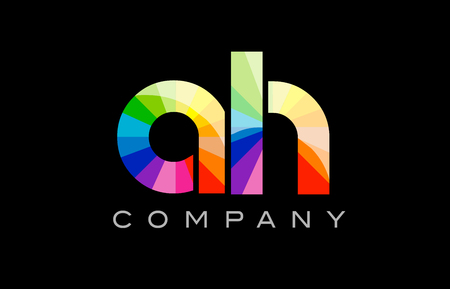 AH A H joint combination alphabet letter mosaic rainbow logo vector creative company icon design template color colorful black background