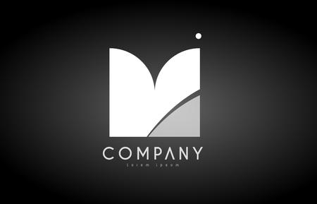 M alphabet letter black white bold logo vector creative company icon design template modern background