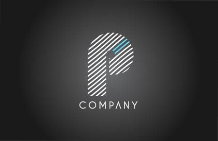 P alphabet letter logo white black blue stripes line blue vector creative company icon design template modern Illustration