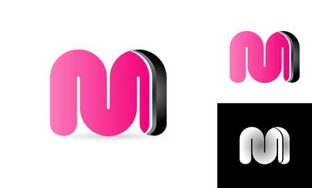 M in pink or black alphabet letter bold logo for creative vector company design