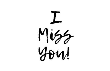 I miss you black white text postcard