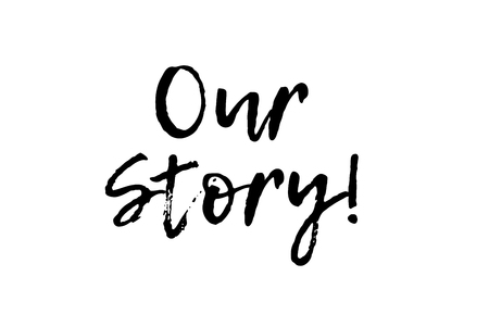 our story black white text postcard