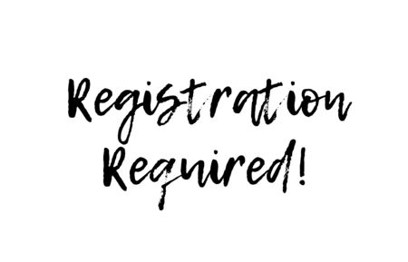 registration required black white text postcard