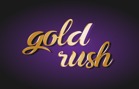Gold rush hand written text gold golden writing calligraphy calligraphic yellow purple letters background logo postcard banner concept creative icon design template modern Illustration